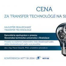 STU získala cenu za Najlepšie realizovaný transfer technológií